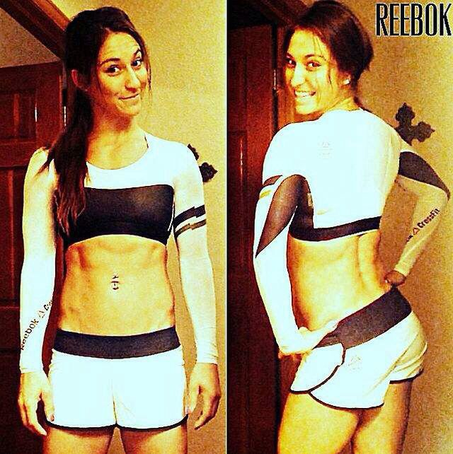 """Reebok CrossFit crop compression on Andrea Ager """"Ya know, when your tummy is hot but your arms are cold!"""" lol"""