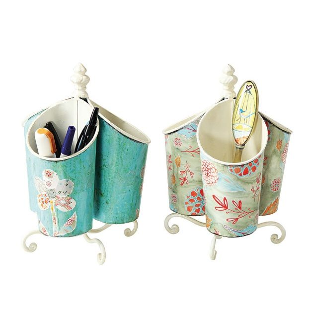 """These gorgeous Floral Holders for pens, makeup or even utensils will dress up any desk or table.   3 holders on a rotating metal stand.  Measures 9-1/2"""" tall.  Metal."""