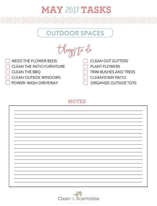 How To Get Your Yard Ready For Spring Free Printable May Notes For The Household Organization Diet Household Organization Kids Bedroom Organization Cleaning