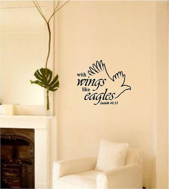 With Wings Like Eagles Isaiah 40:31 Vinyl Wall Art Bible Religious ...