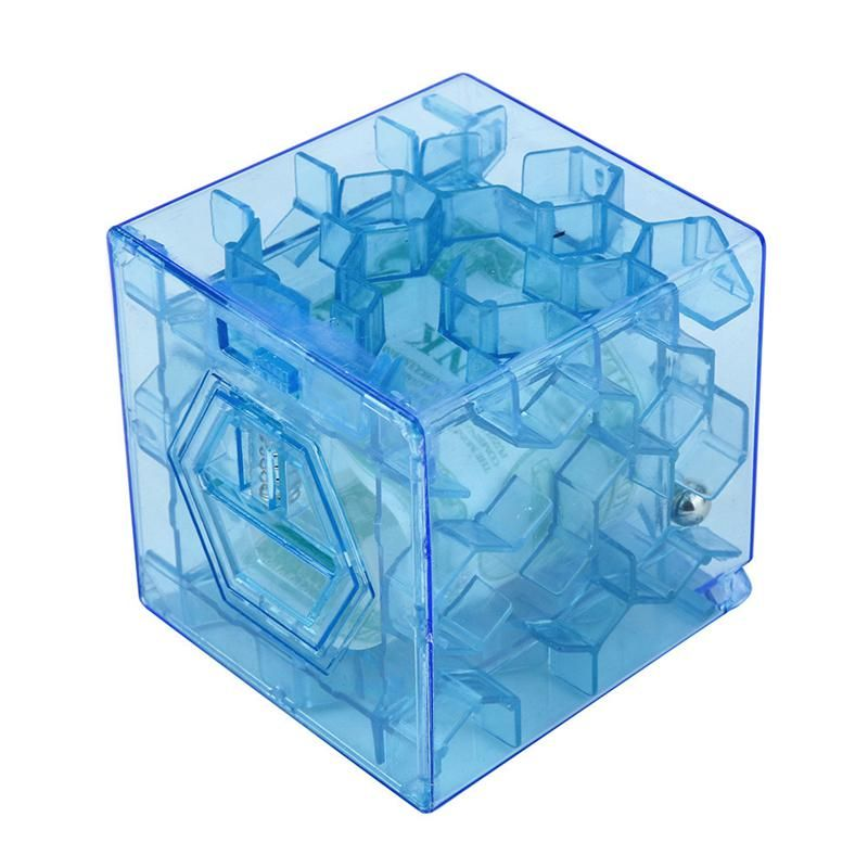 Blue New 3d Cube Puzzle Money Maze Bank Saving Coin Collection Case Box Fun Brain Game Unique Design For Children Development Cube Puzzle Cube Coin Collecting