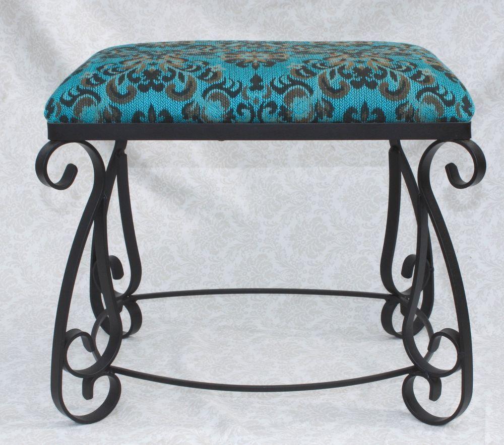 Pleasant Vintage Wrought Iron Vanity Stool Bench Spanish Style Dailytribune Chair Design For Home Dailytribuneorg