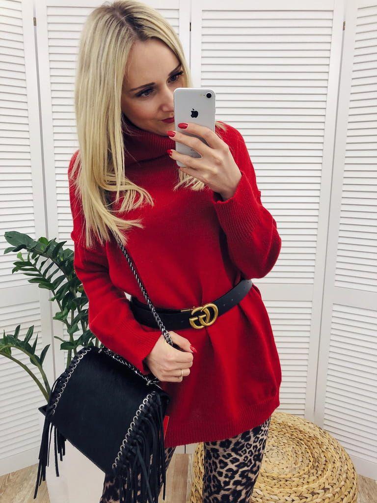 Dlugi Golf Oversize Carmen Czerwony Golf Swing Play Golf Red Leather Jacket