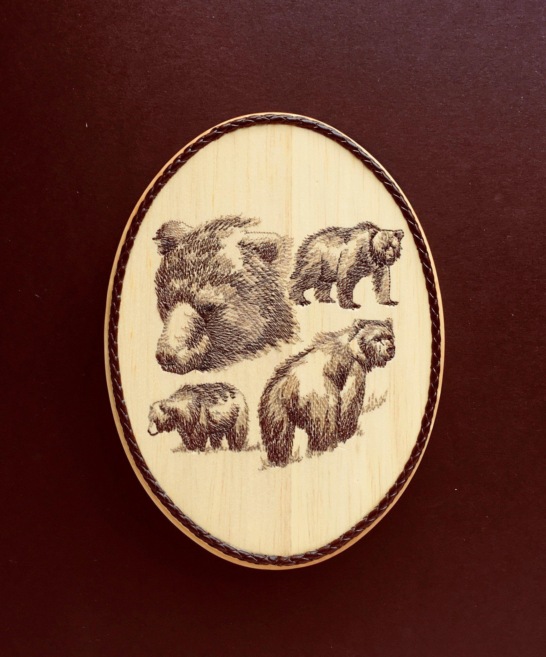 Brown bear wall decor embroidery art on balsa wood woodland