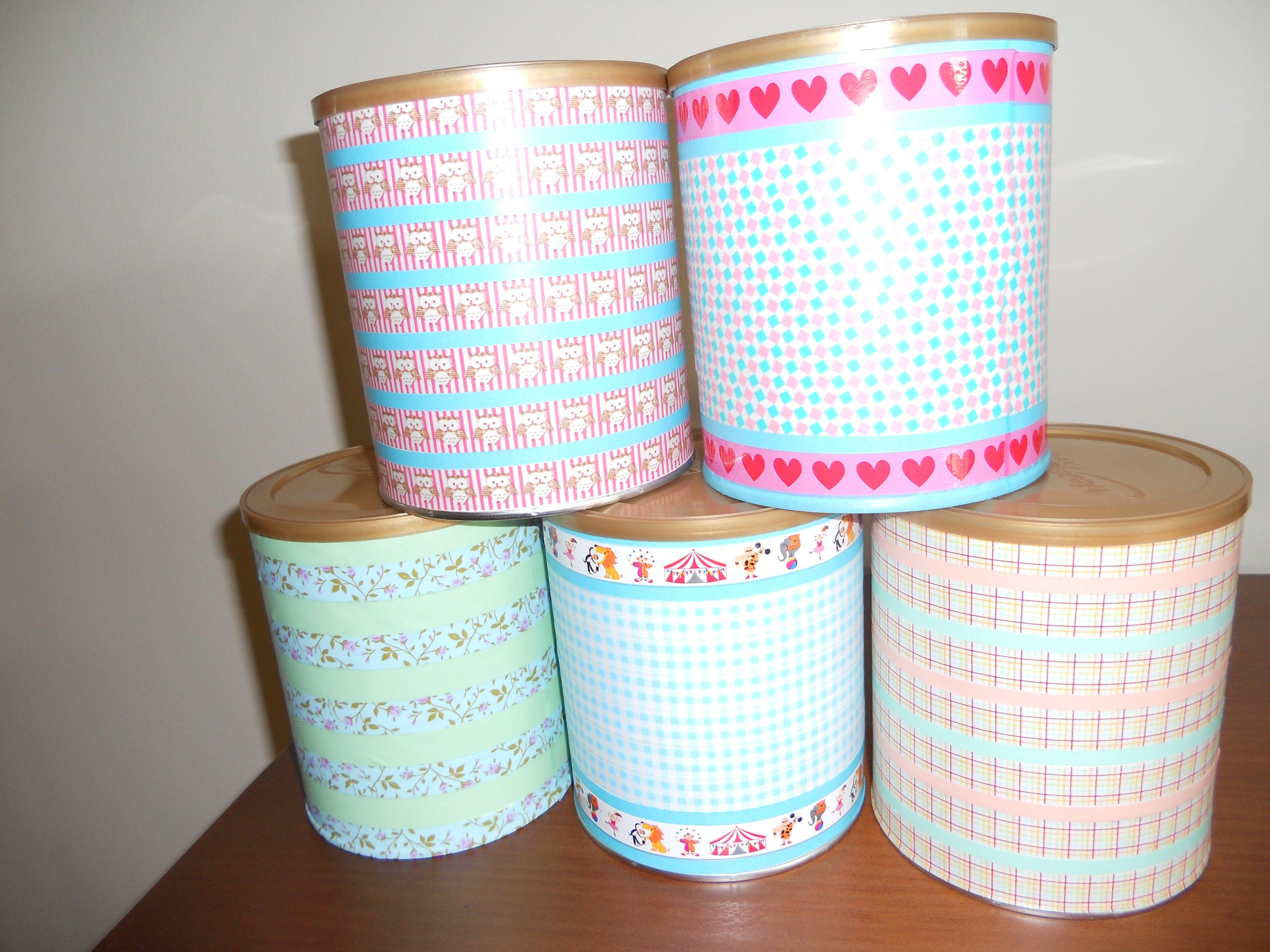 Botes de leche para bebes decorados con washi tape pueden for Como decorar botes de cristal para la cocina