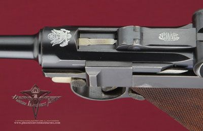 1900 American Eagle Army Test Luger / Two Lugers arrived in March 1901 and testing began on March 18th with Hans Tauscher showing the Board how the Luger functioned.  These tests were successful and the Army ordered exactly 1000 Parabellums at $14.75 and $ .85 for the magazines. After arrival they were shipped to Springfield Armory for official acceptance.