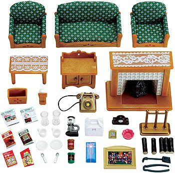 calico critters deluxe living room set | miniature, plays and clock