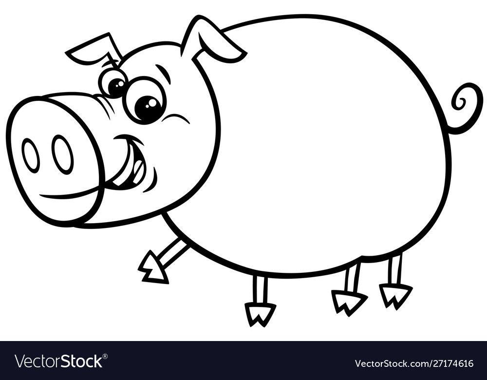 Black And White Cartoon Illustration Of Funny Comic Pig Farm Animal Character Coloring Book Download Coloring Books Clip Art Freebies Black And White Cartoon