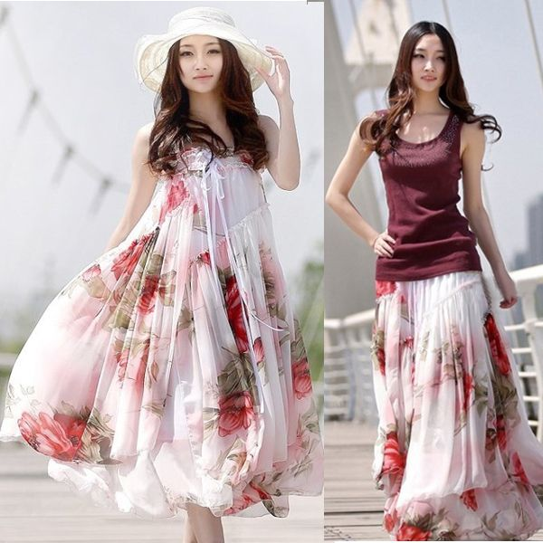 New Women Big Hem Summer Casual Floral Skirt Elegant BoHo Lotus Leaf Chiffon Maxi Long Skirts Free Shipping
