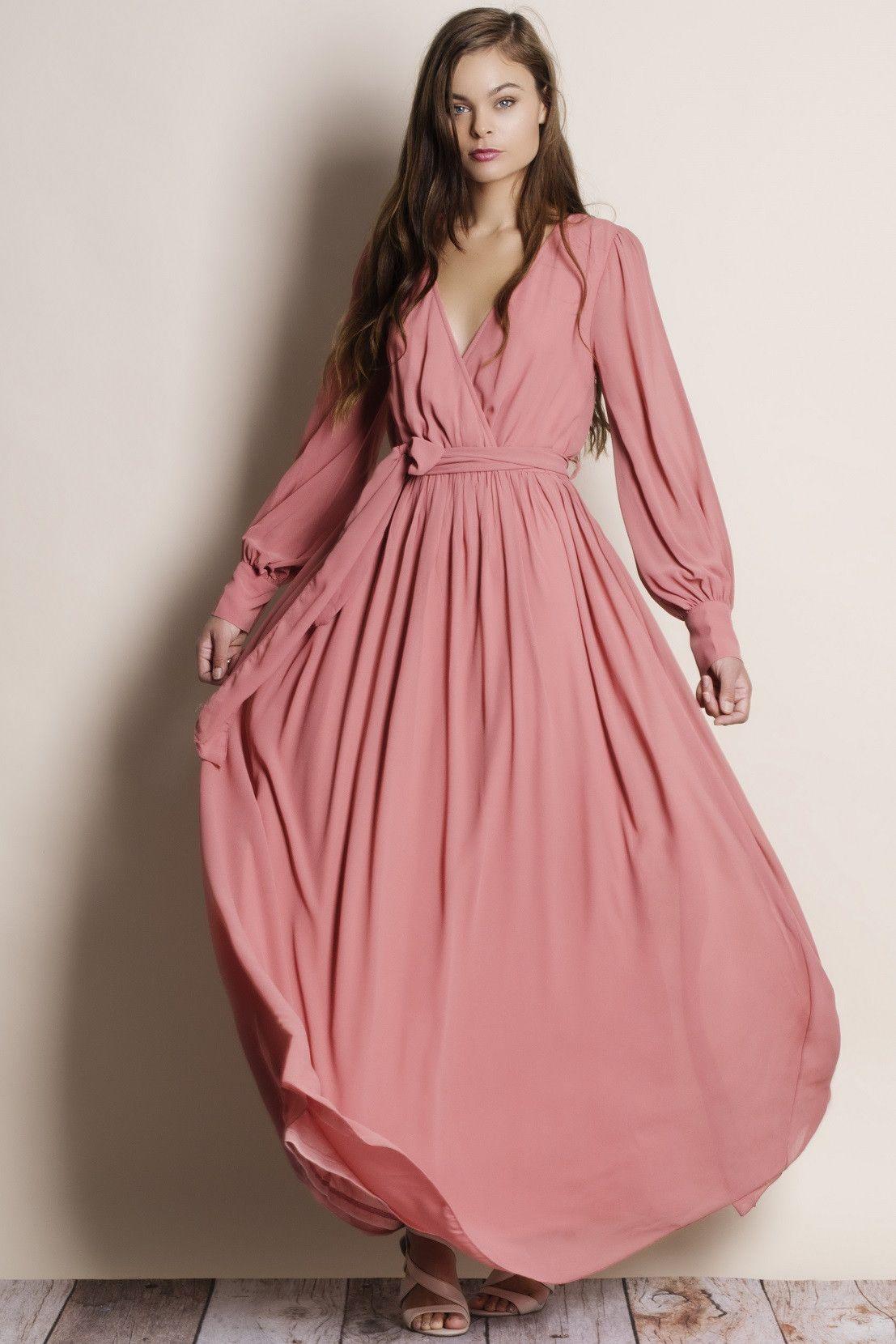 81ee160c94 Pandora Chiffon Faux Wrap Maxi Dress (rose)