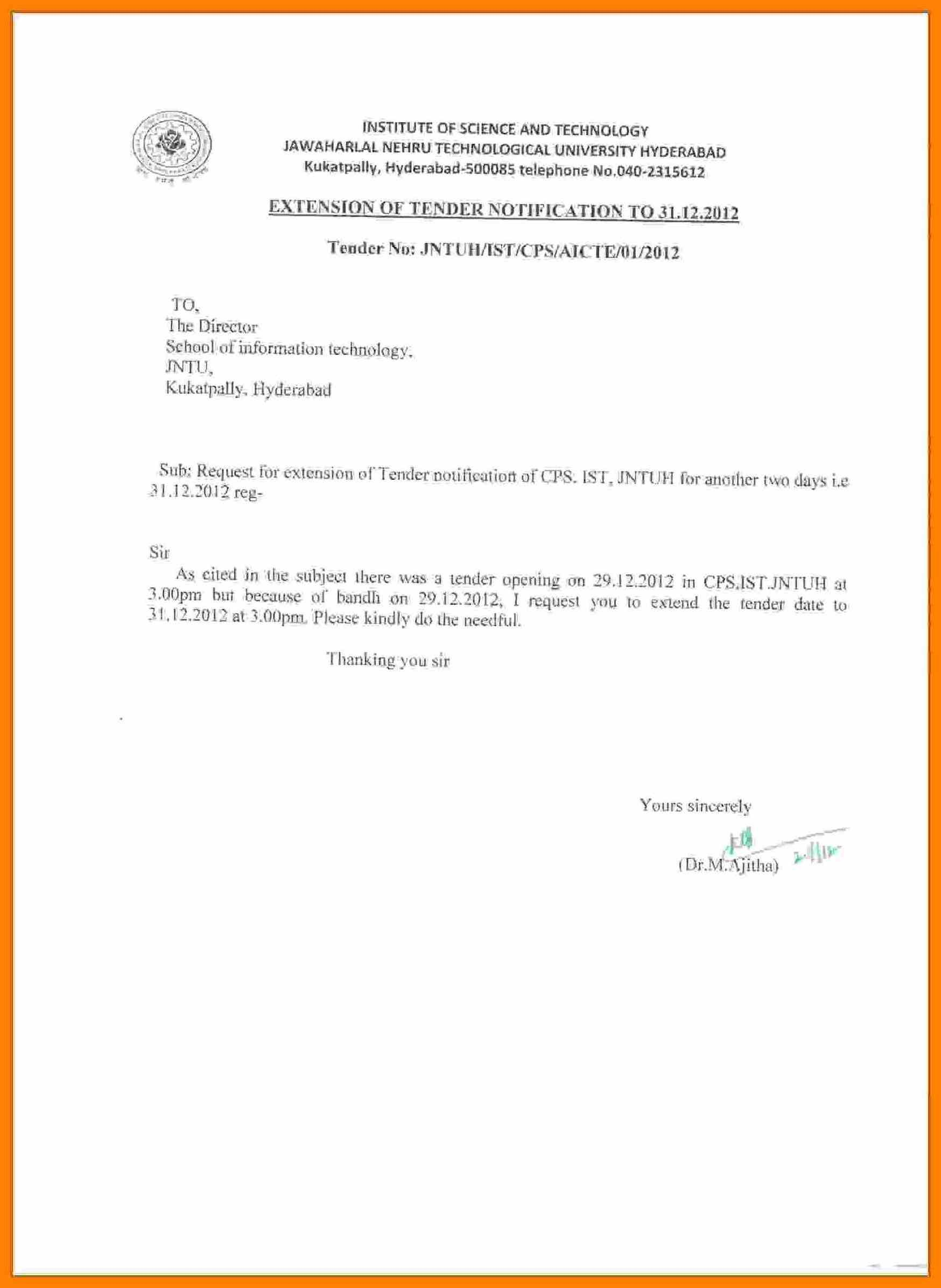 Letter For Maternity Leave Tender Application Format Cover