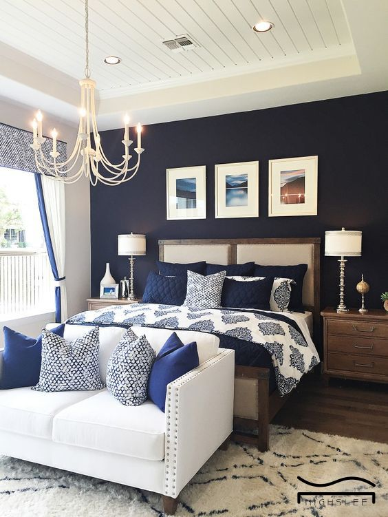 blue bedroom navy blue bedroom idea Aesthetic modern bedroom ...