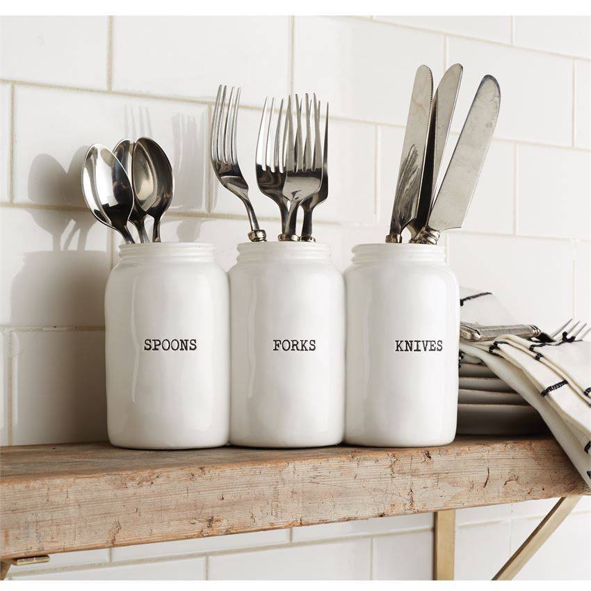 Ceramic Utensil Holder Features Three Joined Preserve Style Jars