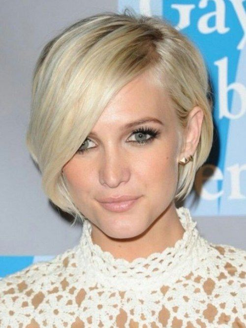 2017 Short Bob Hairstyles With Side Sweeping Bangs