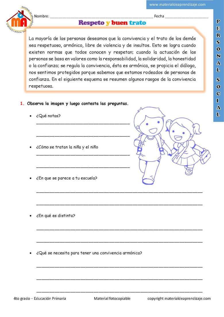 Respeto y buen trato: 4to grado - Material de Aprendizaje | Ejercicios de  comprensión, Lectura de comprensión, Comprensión lectora