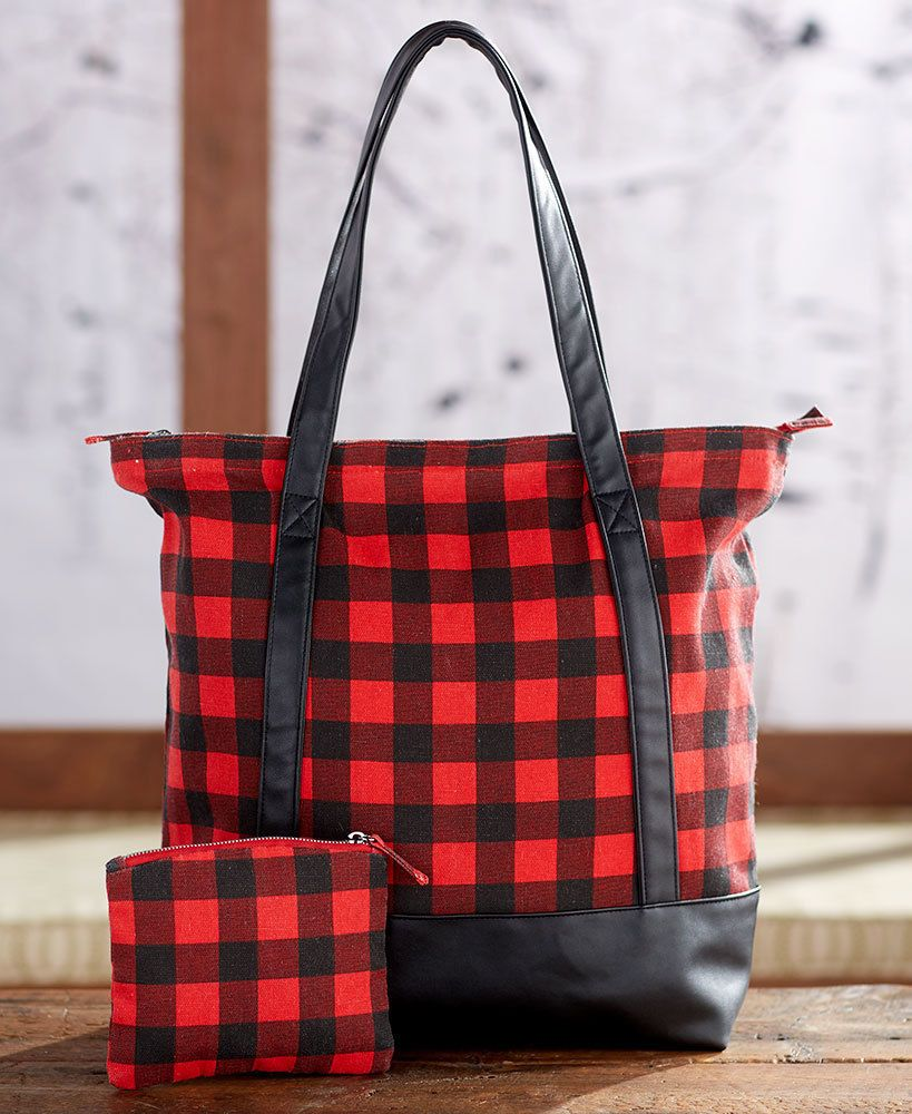 Red Plaid Purse Large Checkered W/ Small Cosmetic Bag