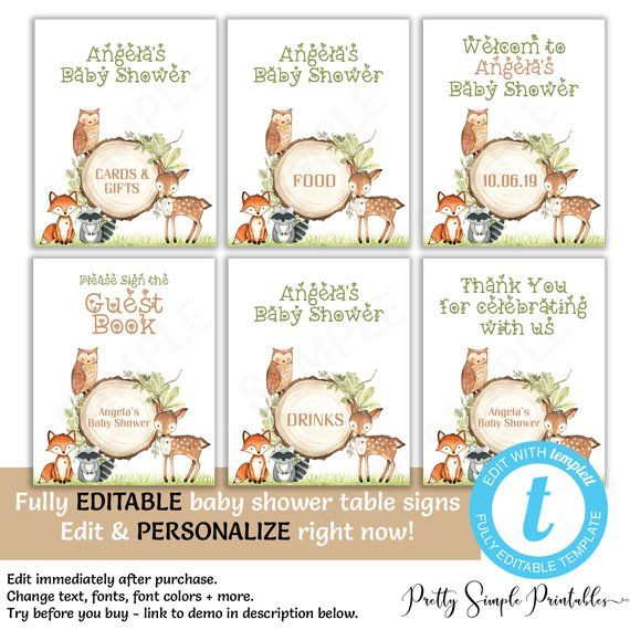 editable woodland baby shower table signs cards and gifts food rh pinterest com