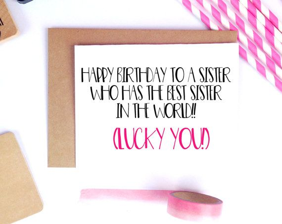 Funny Sister Birthday Card For Her By LailaMeDesigns