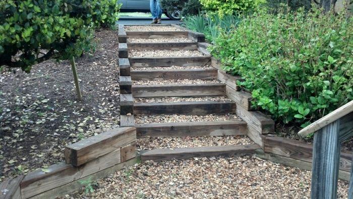 idee für garten treppe selber bauen kies holzbalken vorgarten - gartentreppe holz selber bauen anleitung