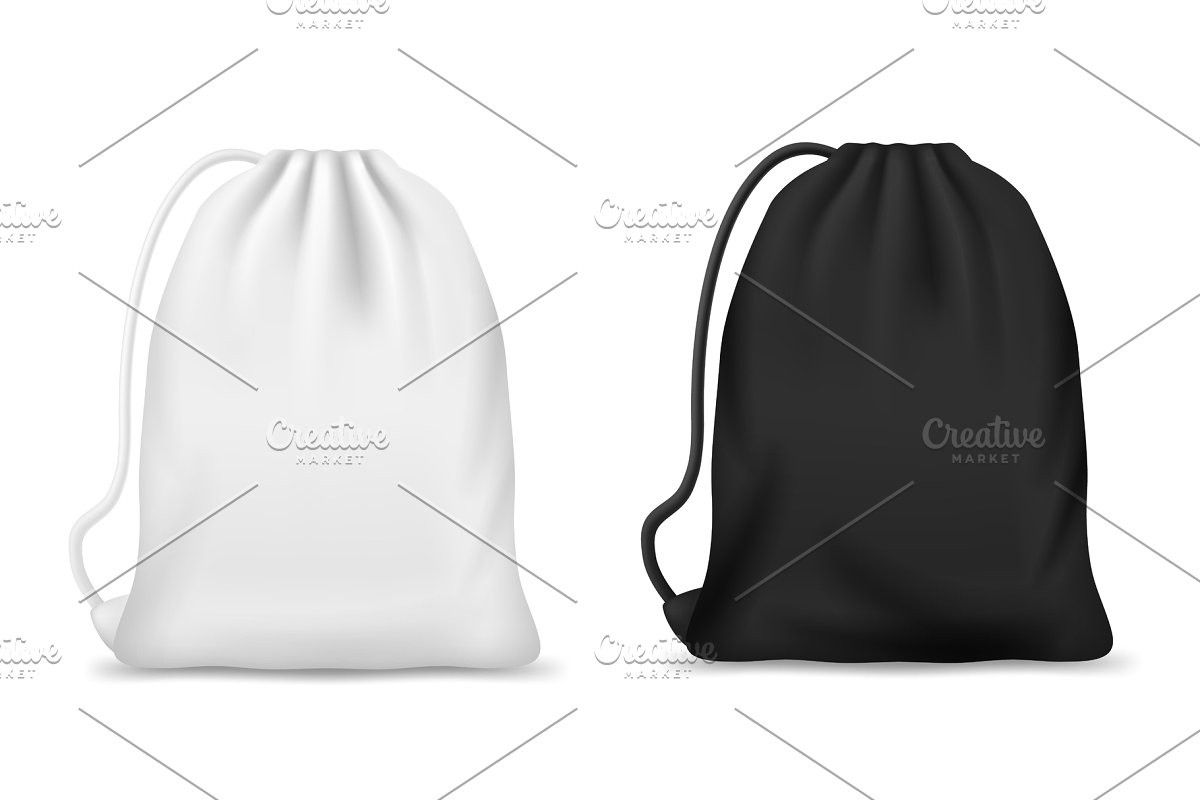 Download White And Black Drawstring Bag Bags Drawstring Bag White And Black