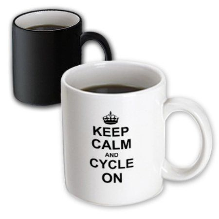 3dRose Keep Calm and Cycle on - carry on cycling - gift for cylists - bicycle - fun funny humor humorous, Magic Transforming Mug, 11oz