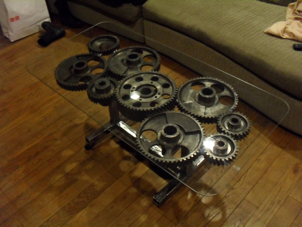 Steampunk Gear Coffee Table Industrial Design Furniture