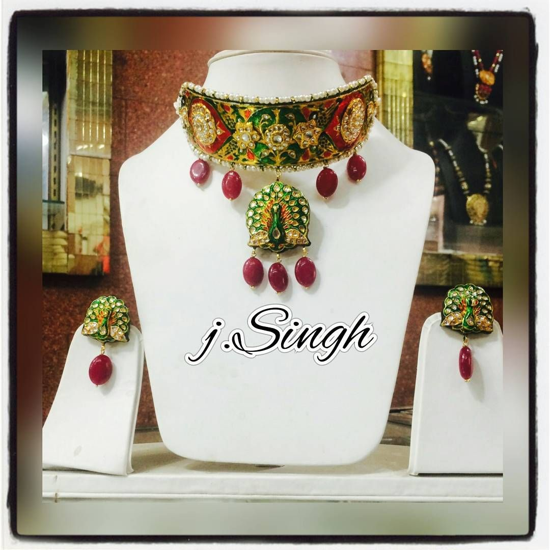 Beautiful choker style necklace set with peacockstyle pendant