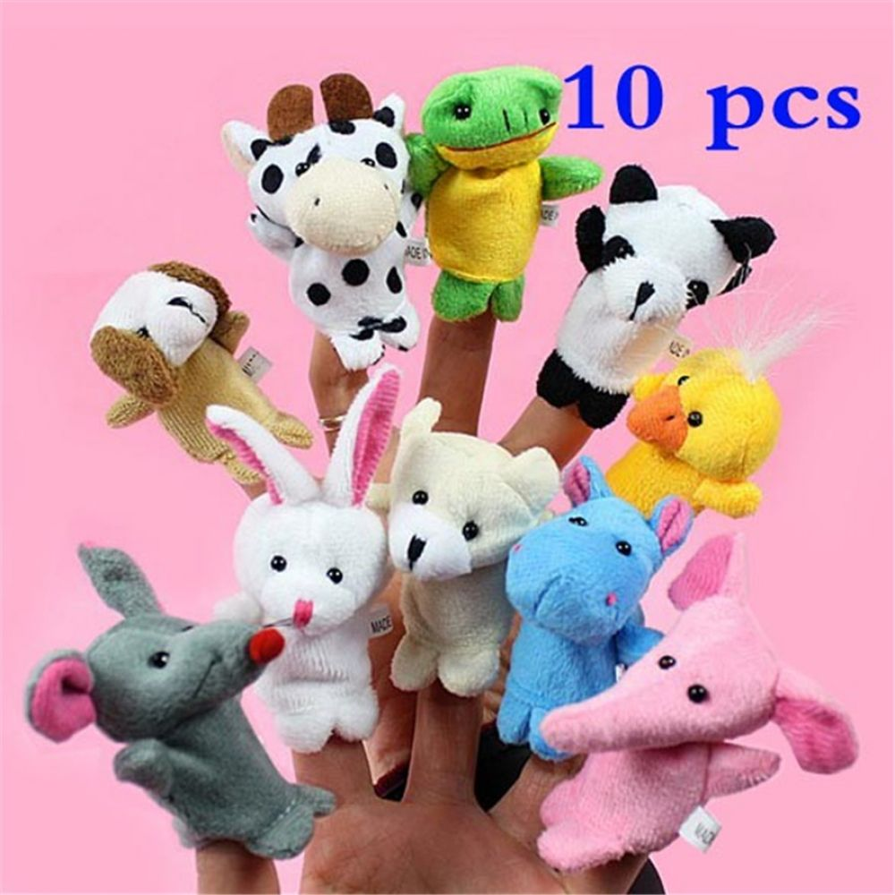 Random 4PCS Three Little Pigs and Wolf Finger Puppets Hand Puppets Christmas Gifts 2019 New