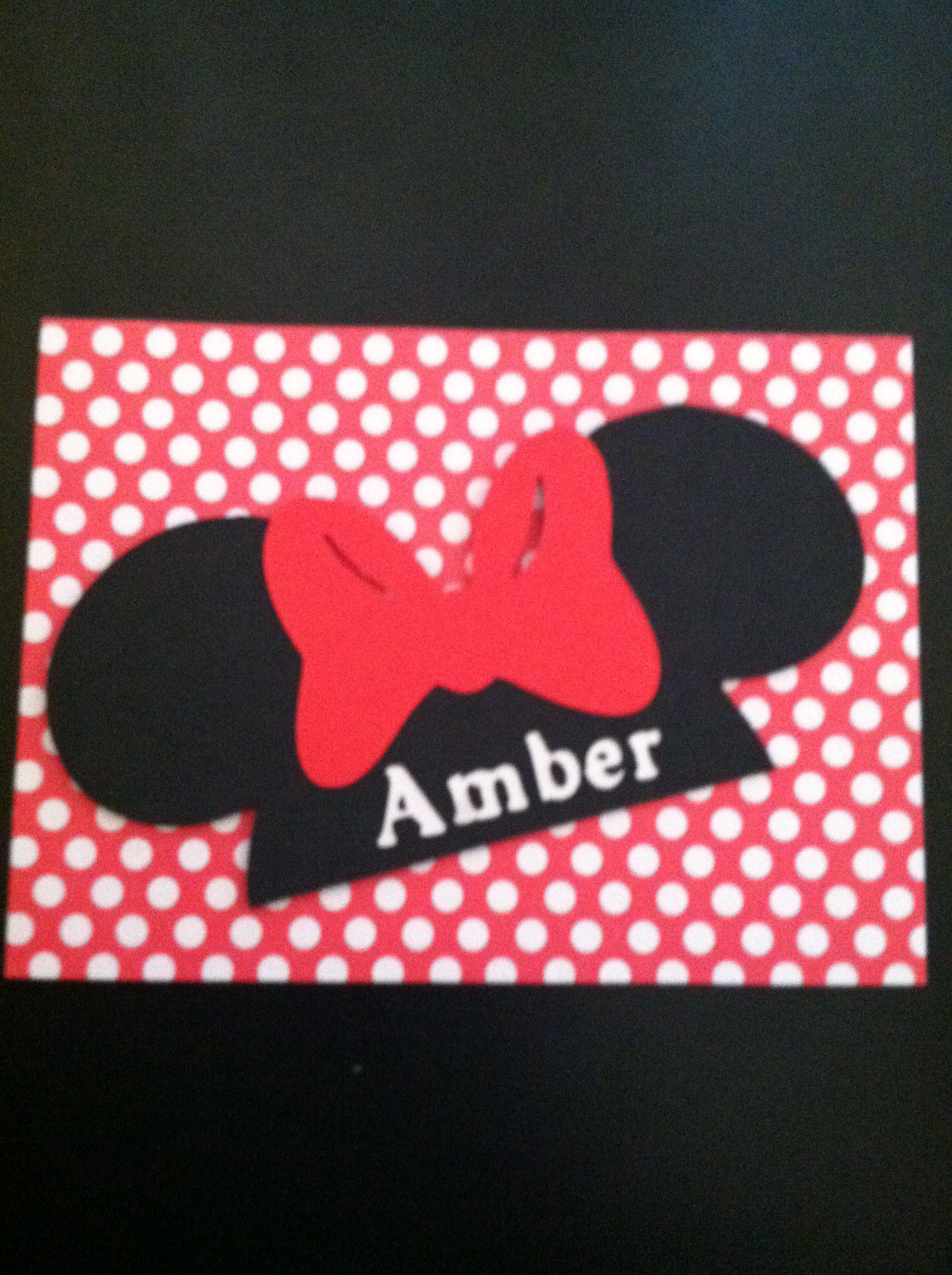 Minnie Mouse birthday card made with Cricut