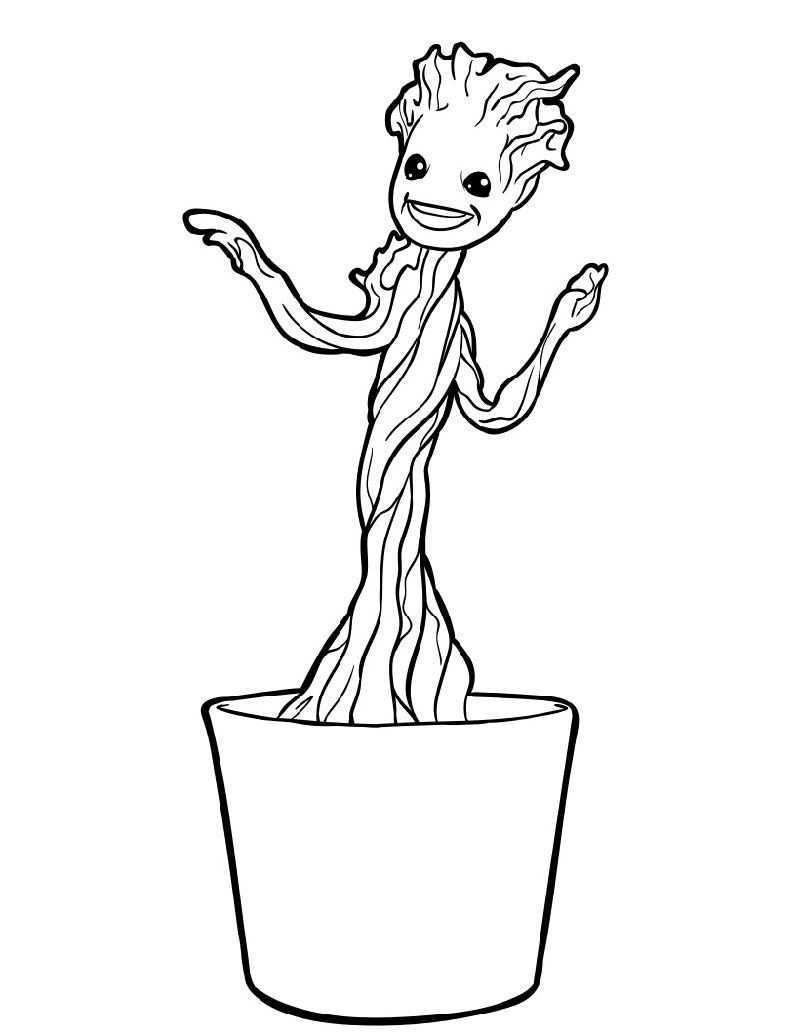 Baby Groot Coloring Page With Images Coloring Pages Superhero