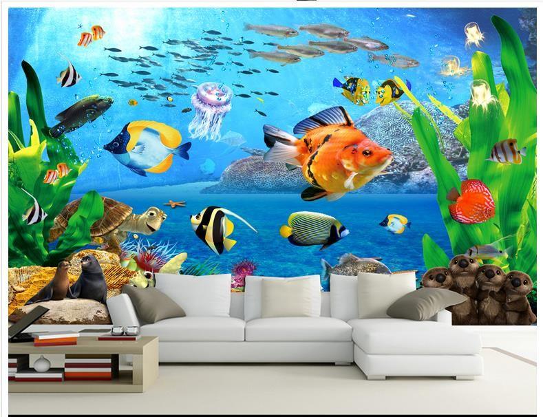 Custom 3d wallpaper 3d murals wallpaper 3 d Cartoon Underwater world children room background wall paintings wall ro… | Mural wallpaper, Wall painting, 3d wallpaper