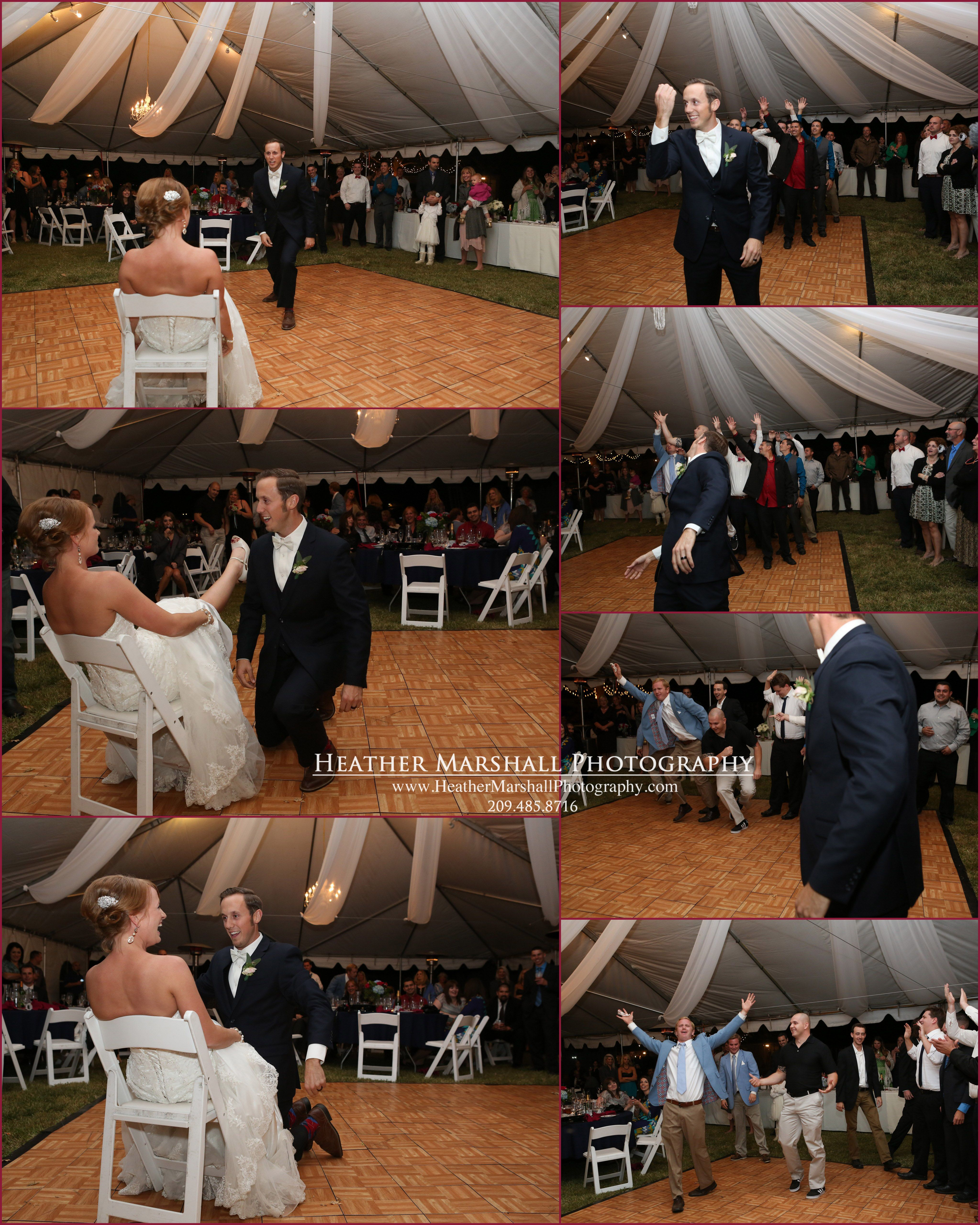 Wedding Reception | Groom's time to shine | getting the garter | garter toss | Heather Marshall Photography |
