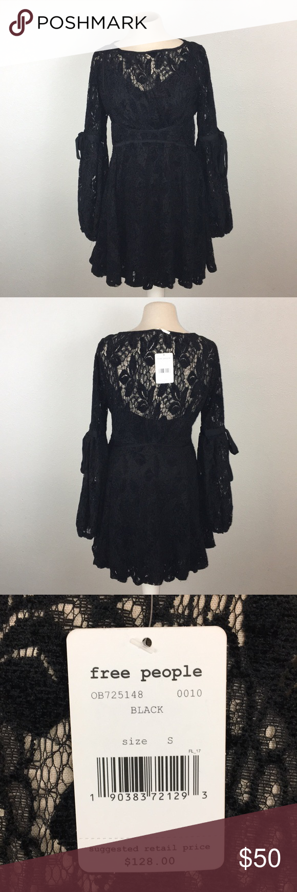 9e9bc08fe3920 NWT Free People Ruby Lace Dress w  Tie Sleeves New With Tags Free People  Ruby