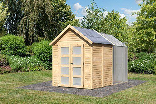 Abri de Jardin Bois 3.64 m2 avec Serre Polycarbonate 3.70 m2 (19 mm ...