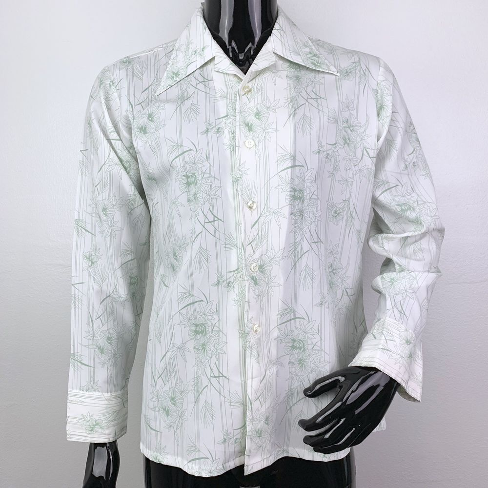 9868e7c017b Vintage 70s Elderado Press Gard Mens Medium White Floral Button Front Shirt  | eBay