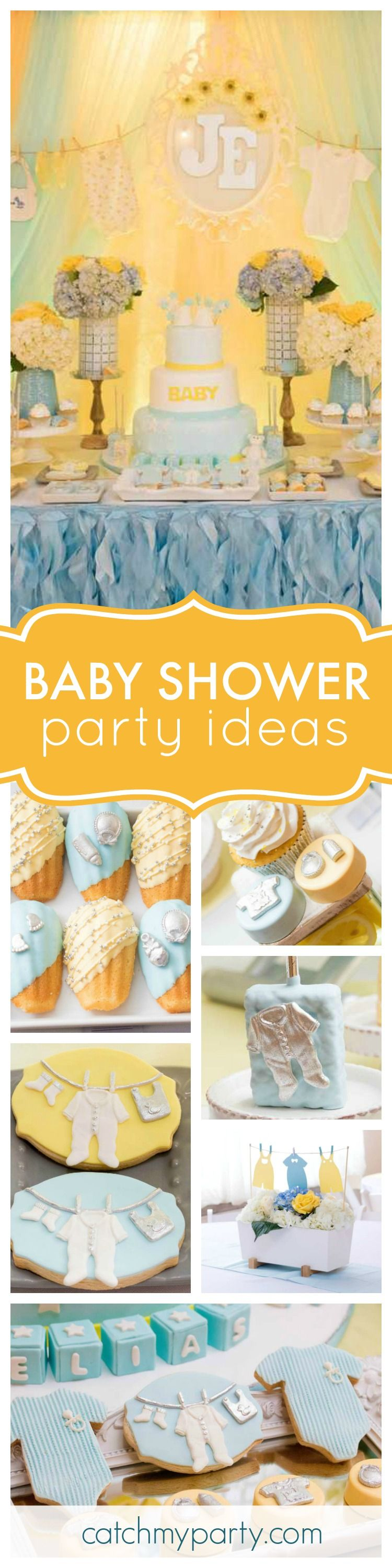 Check out this gorgeous Clothesline Baby Shower. The dessert table will  blow your mind!