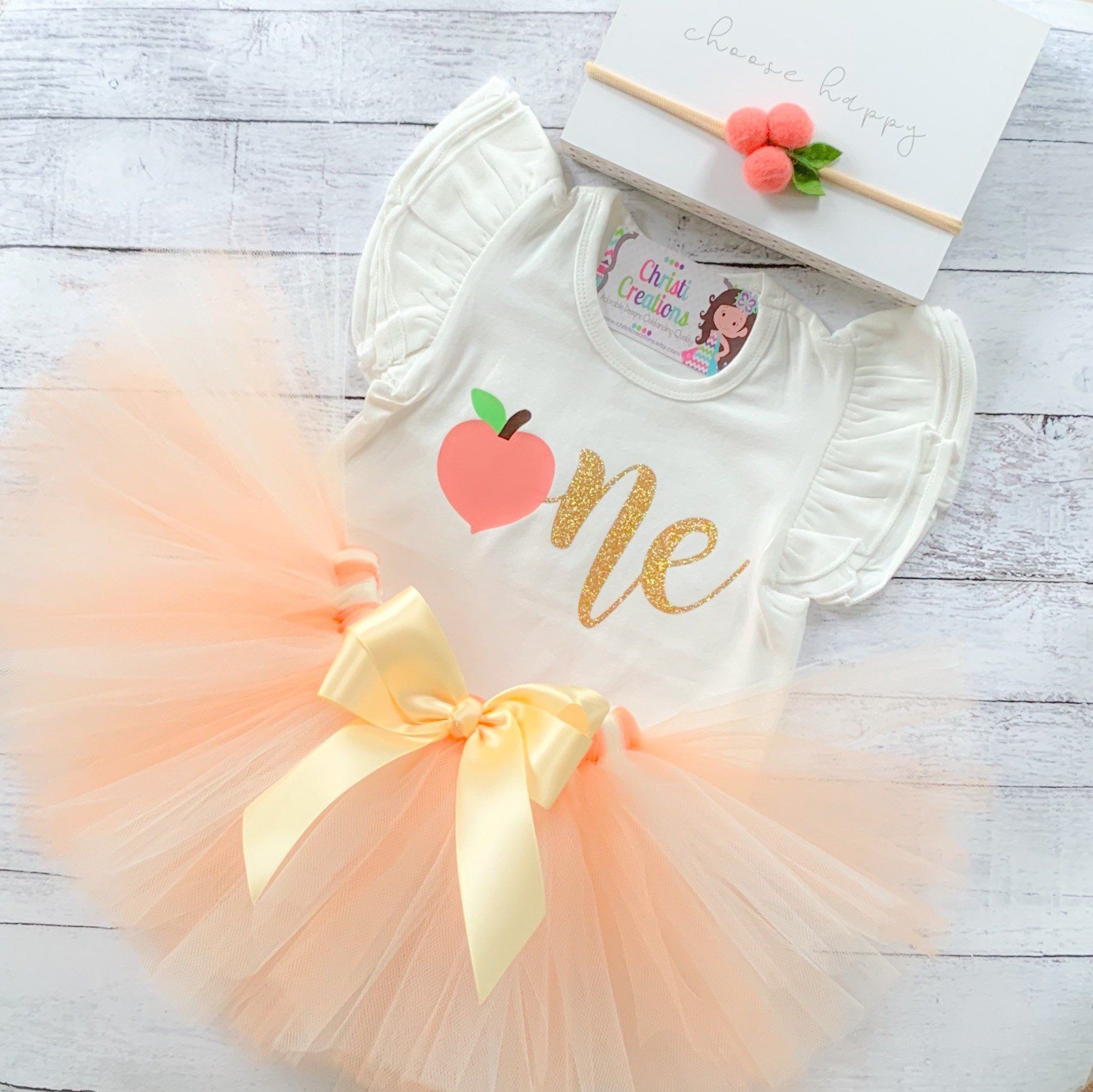Peach 1st Birthday Outfit, First Birthday Outfit Girl, Sweet As A Peach Is One Birthday, Birthday Tutu Set, Cake Smash Outfit Girl