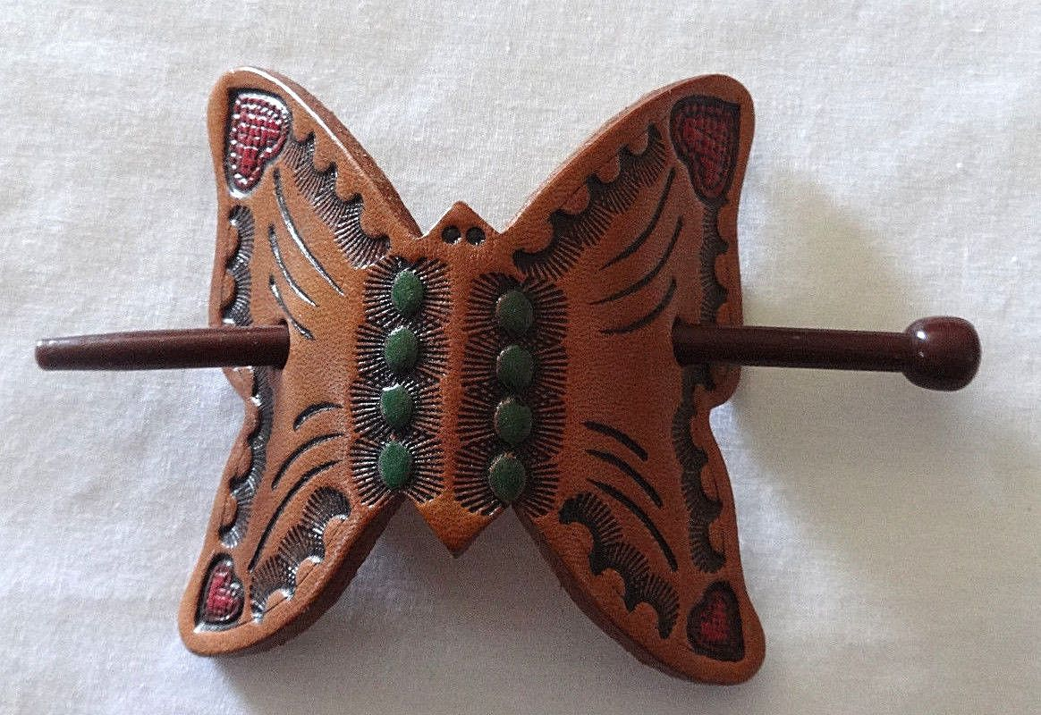 Vintage hair accessory holder - Details About Vintage 70s Hand Tooled Leather Butterfly Ponytail Hair Clip Holder Hippy Gypsy
