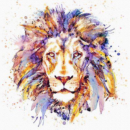 Lion Head Instant Download Printable Art Watercolor Portrait Wall