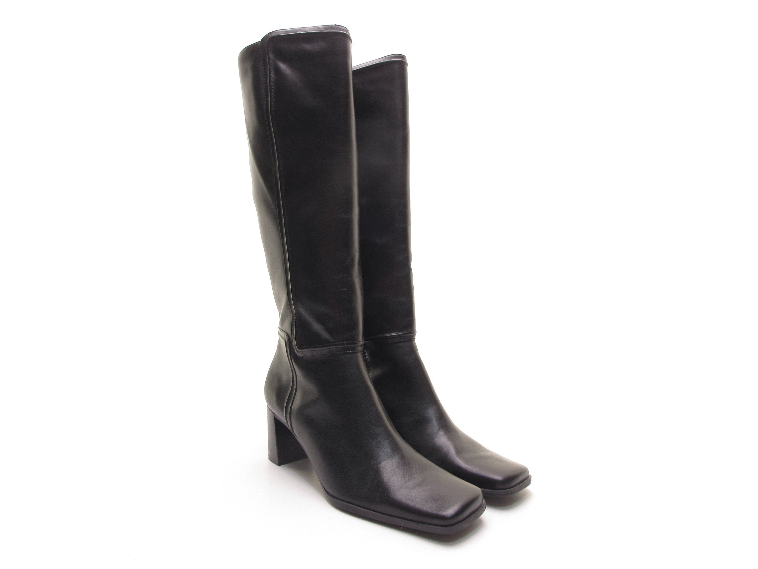 Chunky Heel Boot 90s Vintage Boots Square Toe Boots Leather Tall Boots Knee High Boots Rubber Soles Block Heel Boots Chunky Heels Boots Fashionable Snow Boots [ 2250 x 3000 Pixel ]