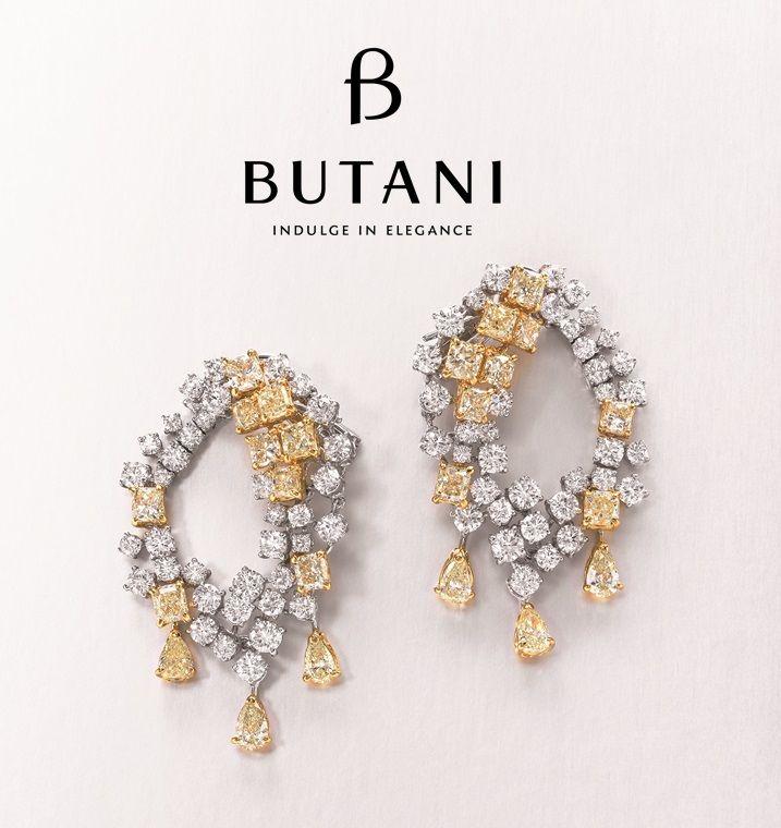 7e6ef5fee Diamond cluster loop earrings dripping with pear-shaped yellow diamonds  defining ultra-femininity with luxury #Butani #ButaniJewellery #Luxury  #Diamonds