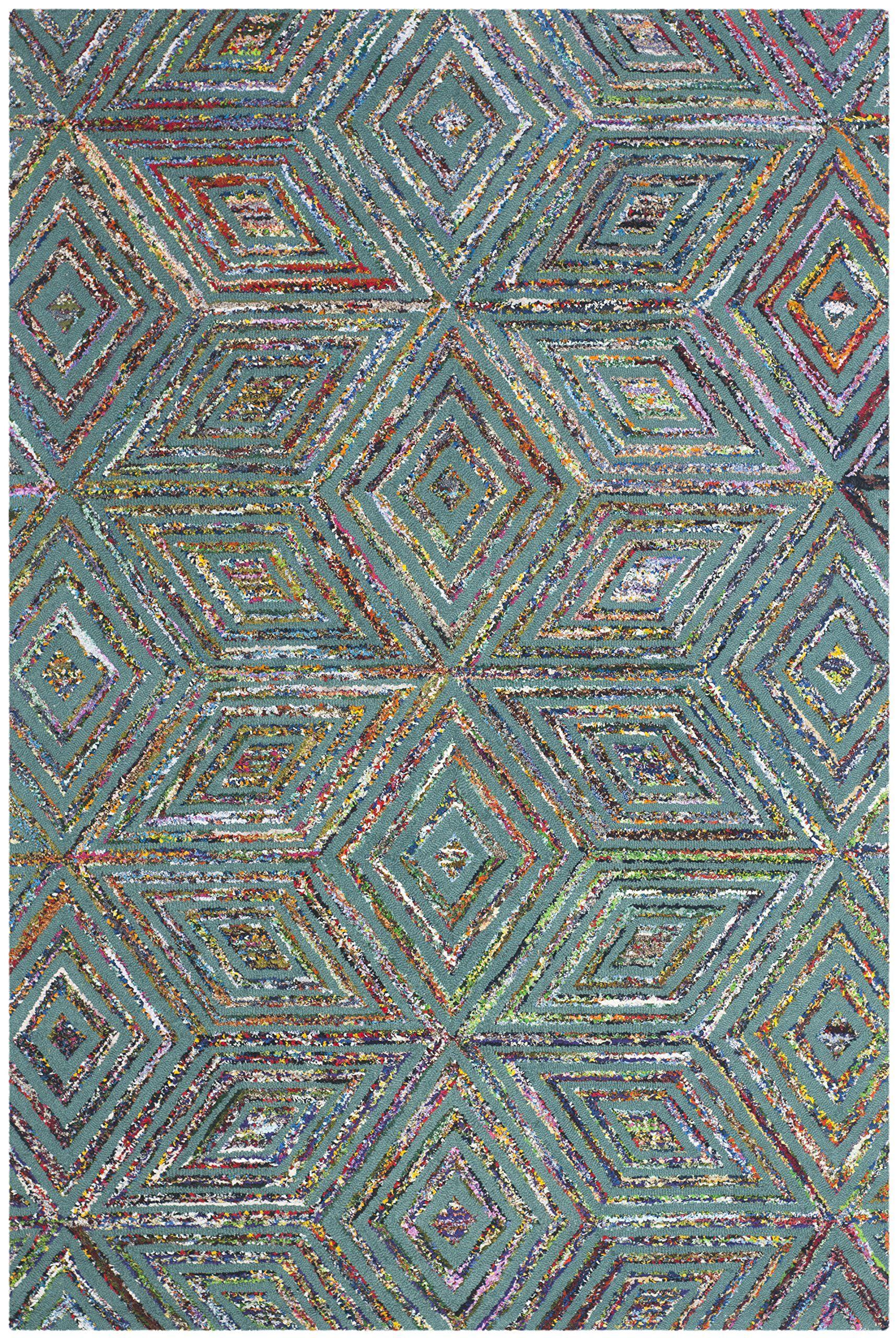 Amazon.com - Safavieh Nantucket Collection NAN607A Handmade Blue Cotton Area Rug, 8-Feet by 10-Feet -