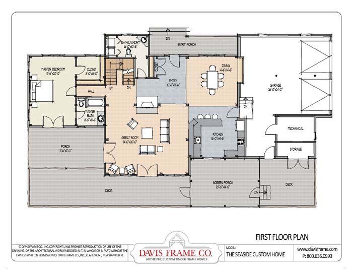 Seaside Timber Frame Plan 1 Jpg 701 542 Floor Plans House Floor Plans Timber House