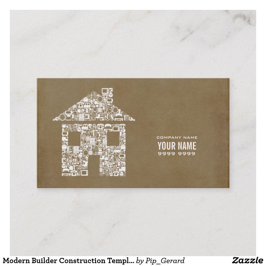 Modern Builder Construction Template Business Card Zazzle Com Construction Business Cards Cards Construction