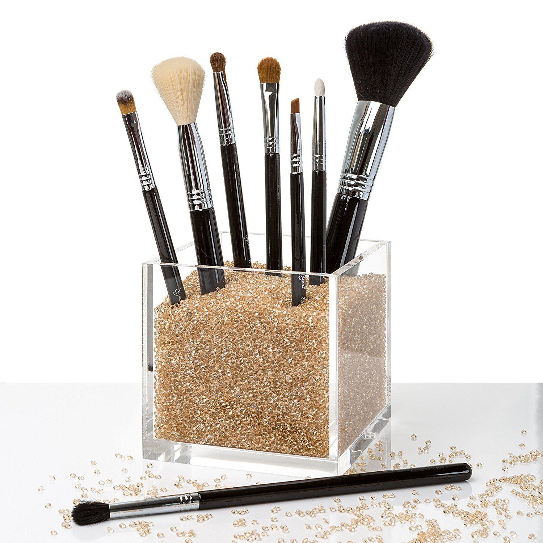 Acrylic Diamonds GOLD Makeup Brush Holder