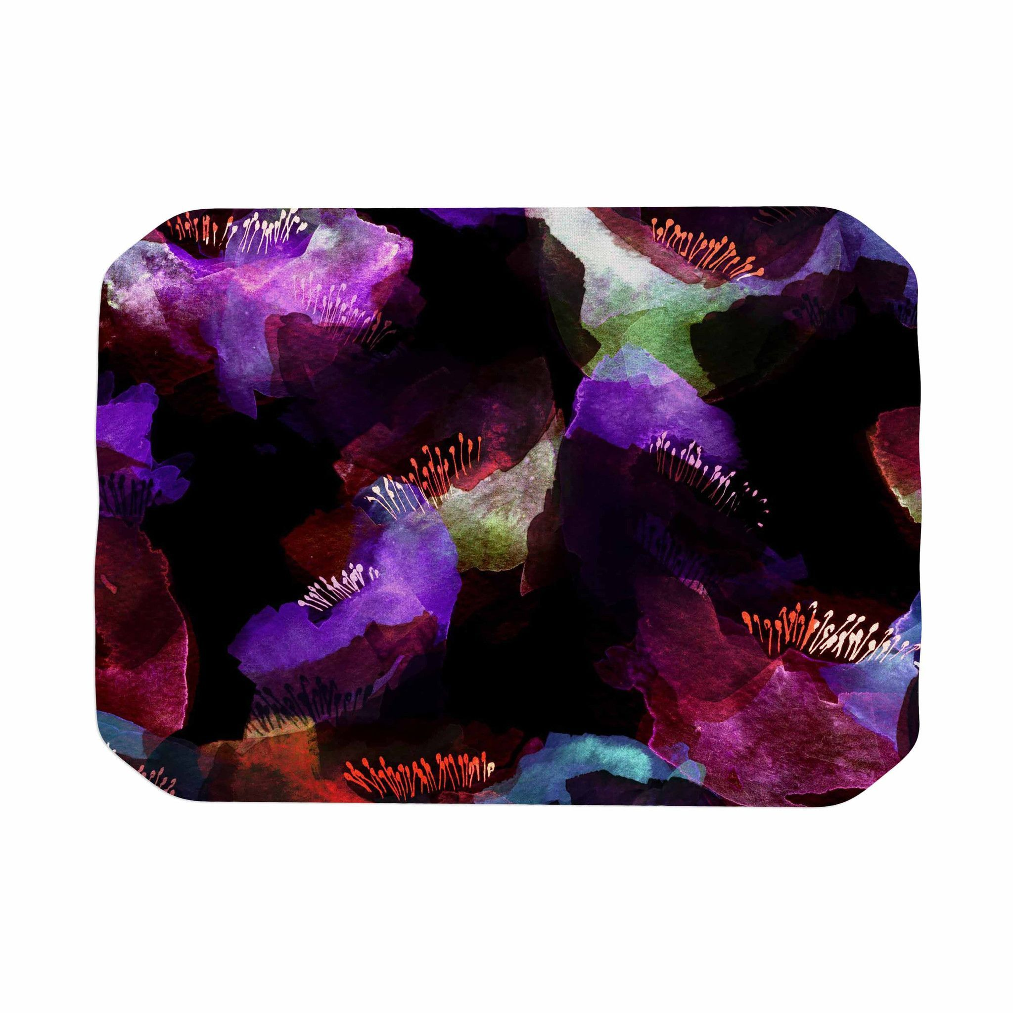 Oceanside Watercolor Poppies Bath Linens Bath Mat