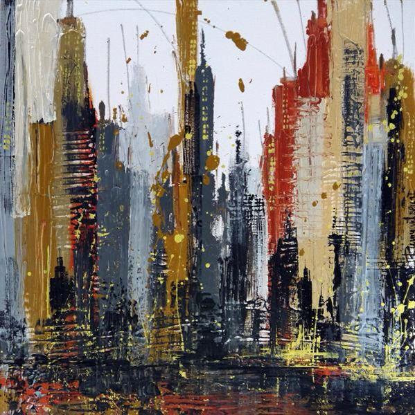 City Bustle Cityscape Skyline Canvas Painting Artist Abstract City #Cityscape…
