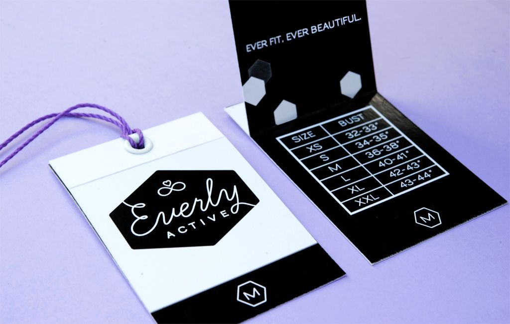 Everly Active fashion hangtag design, product packaging | by Fuze Branding