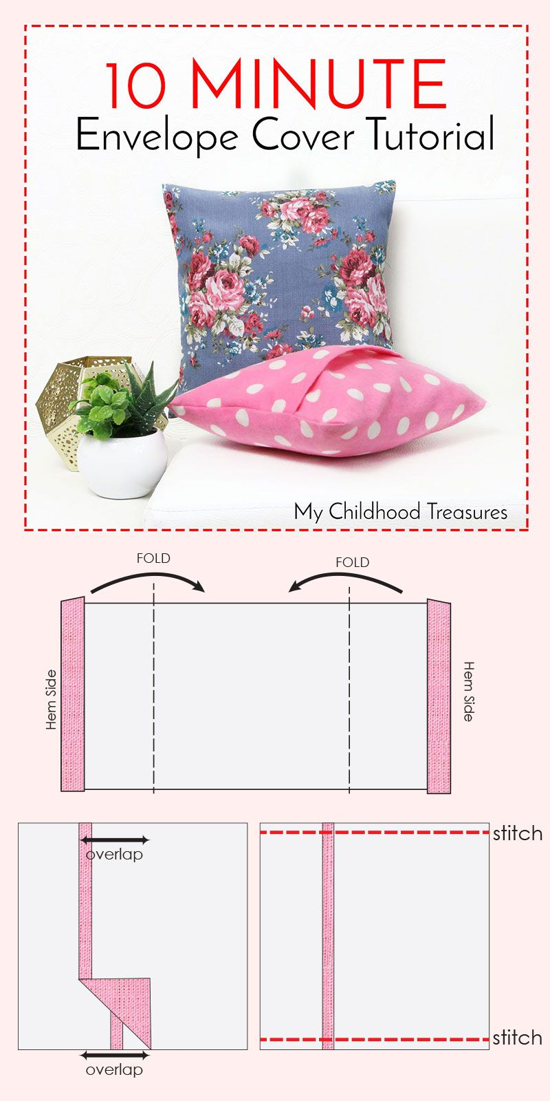 How To Make Cushion Covers Envelope Covers In 10 Minutes Nähen