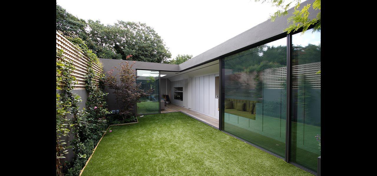 Jardín privado Casa Sistema de puerta corredera mínima IQ Glass